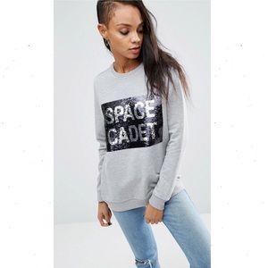 ASOS Sweatshirt With Space Cadet Sequins Gray 12
